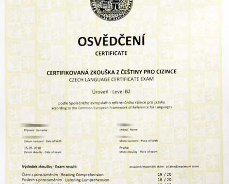 Сертифицированный экзамен по чешскому языку